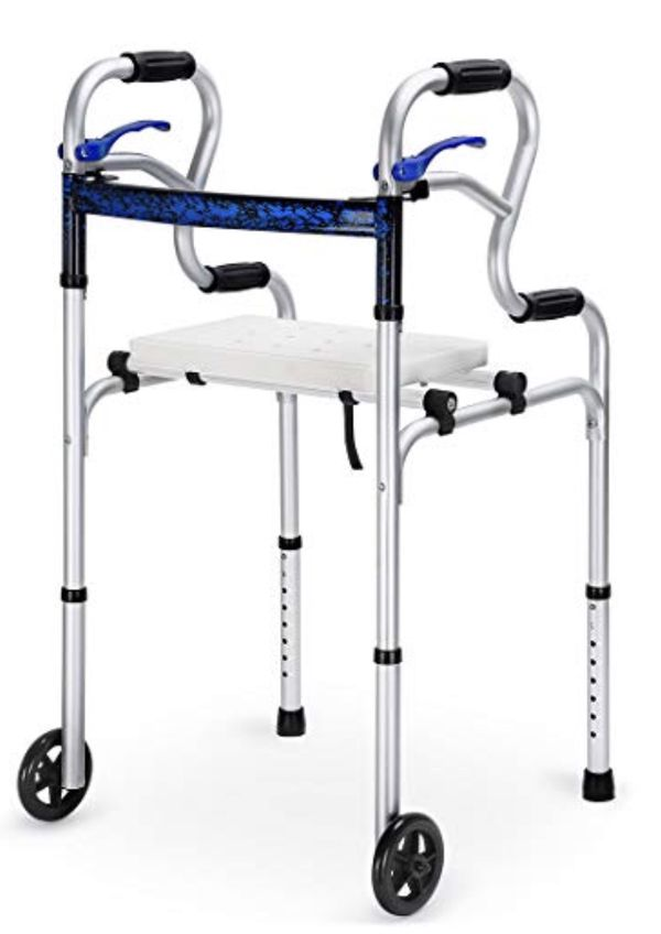 HEALTH LINE 4 IN 1 STAND-ASSIST FOLDING WALKER WITH DETACHABLE SEAT, TRIGGER RELEASE AND 5″ WHEELS SUPPORTS UP TO 350 LBS,