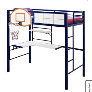 Twin Size Bunk Bed With Desk And Basketball Hoop for Sale in Ontario, CA
