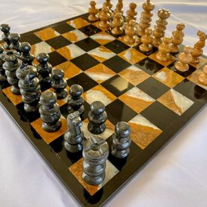 Tri Color Marble Chess Set Hand Carved for Sale in San Diego, CA
