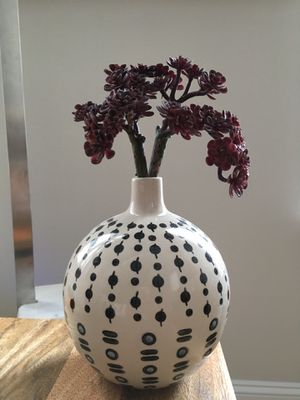West Elm potters ceramic handcrafted vase with faux succulent NEW for Sale in Houston, TX