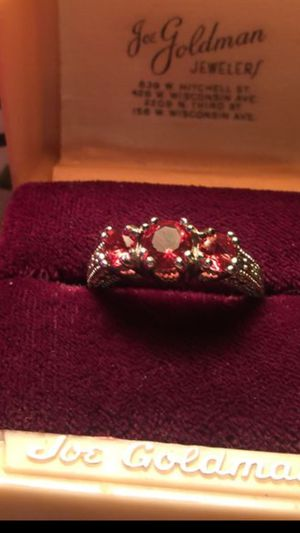 Rich Red 3 round Rubies set on quality 925 sterling silver band. Beautiful ring!!! Size 8 gift boxed. I ship plus free gift too '!! for Sale in Northfield, OH