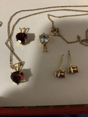 10k necklace n charms n 14k purple stone earrings for Sale in Austin, TX