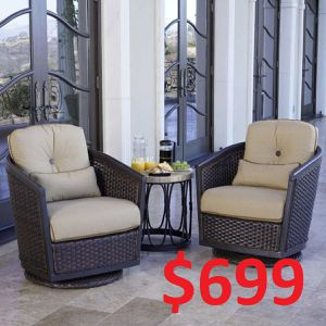 ✨✨✨ Patio outdoor furniture set 3pc chat wicker chair table collection for Sale in Houston, TX