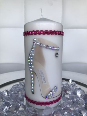 FASHION Homemade decorated custom unscented pillar candle woman gift for Sale in North Miami Beach, FL