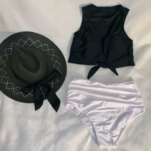 White high waisted bikini bottoms and black crop bathing suit top sz M for Sale in Tacoma, WA