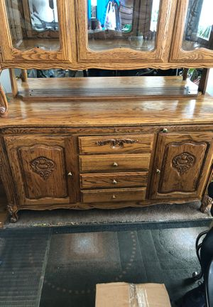 Oak wood china cabinet (ANTIQUE) for Sale in Washington, DC