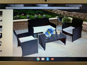 Combo 5 pcs black wicker patio sectional outdoor sofa furniture for Sale in Glen Gardner, NJ