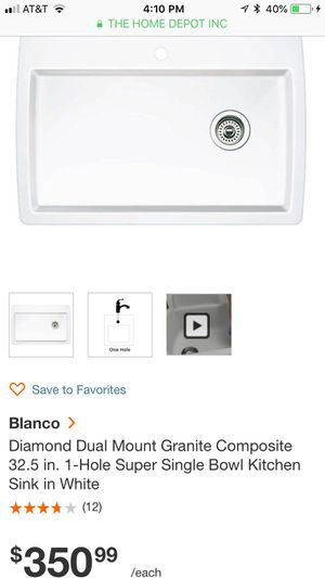 Blanco Diamond Dual Mount Granite Composite 32.5 in. 1-Hole Super Single Bowl Kitchen Sink in White for Sale in Silver Spring, MD