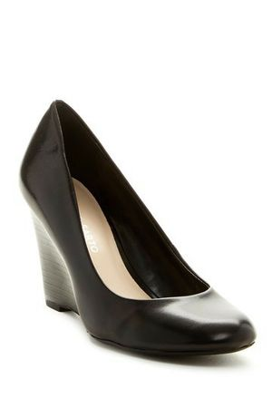 """Franco Sarto Leather Wedge Heels Pump Shoes Black """"Rina"""" Sz 9 M for Sale in Trappe, PA"""