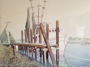 Signed limited lithograph, Agnes Marie Shrimp boat print at pier for Sale in Annapolis, MD