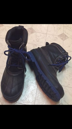 Men's rain snow boots Warm Sz 6 leather black blue lace up waterproof for Sale in Vancouver, WA