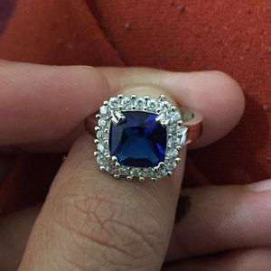 925 sterling silver plated blue sapphire ring for Sale in Silver Spring, MD