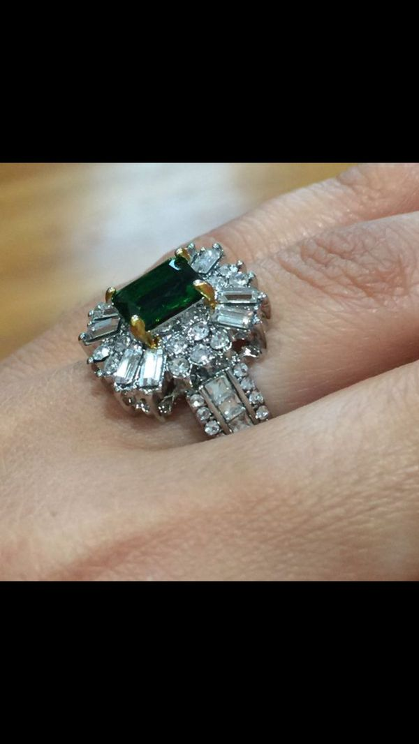 Silver princess cut emerald cz ring size 7 and 8 available