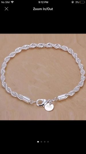 Sterling silver plated twisted chain rope bracelet for Sale in Silver Spring, MD