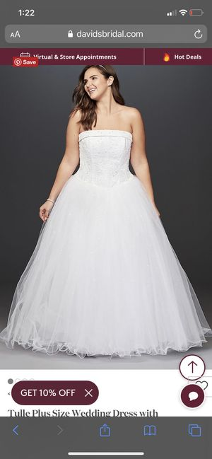 David's Bridal Tulle Wedding Dress with Beaded Bodice for Sale in Davenport, FL