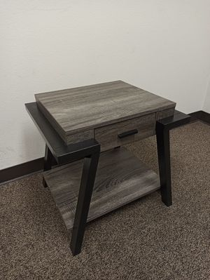 Stylish End Table with One Drawer, Distressed Grey for Sale in Santa Fe Springs, CA