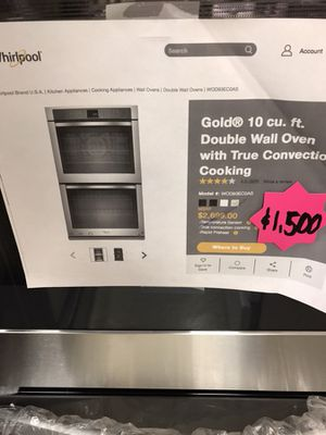 WHIRLPOOL STAINLESS STEEL DOUBLE OVEN WALL OVEN for Sale in Lilburn, GA