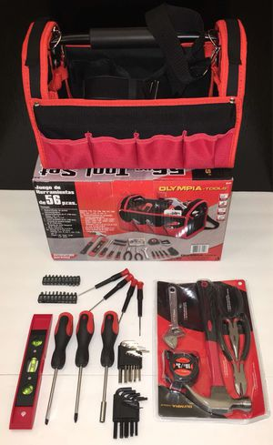 New in box 56 pcs olympia tool set screwdrive wrench hammock tool carrying bag case chest handyman for Sale in Covina, CA
