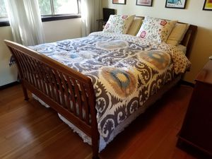 Cherry Wood Queen Bed Frame, Dresser, Night Stand for Sale in Portland, OR