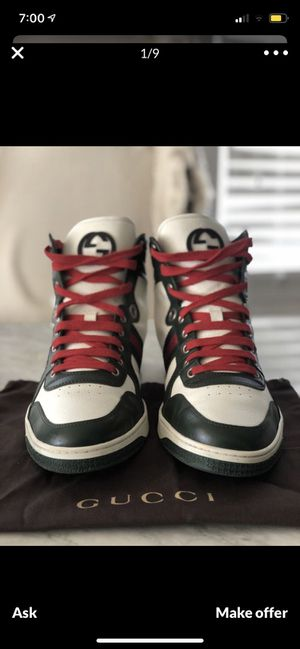 Gucci high top sneakers size 10 willing to trade I need size 9 to 9 1/2 Gucci, LV, red bottom shoe, any branded name shoes😃 for Sale in Las Vegas, NV