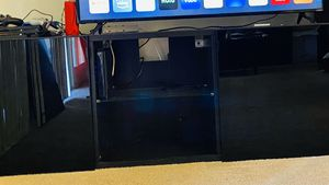 TV stand with shelves and a free gift! for Sale in Fullerton, CA
