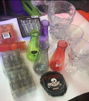 Halloween Skeleton Dishware Pitcher Shot Glass Goblet Coasters for Sale in Lincoln Acres, CA