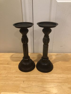 Awesome Set of 2 Vintage Metal Pillar Candle Holders!! for Sale in Sandy, UT