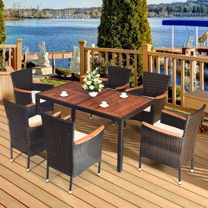 7PCS Patio Rattan Dining Set 6 Stackable Chairs Cushioned for Sale in El Monte, CA