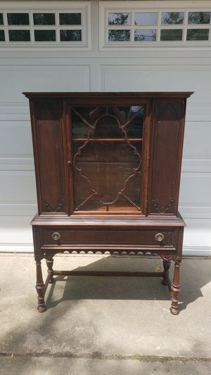 China cabinet display case antique wood and glass for Sale in Deer Park, IL