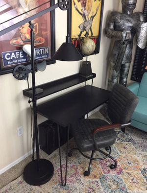 Rustic Industrial Writing Desk & Gray office chair office set for Sale in San Diego, CA