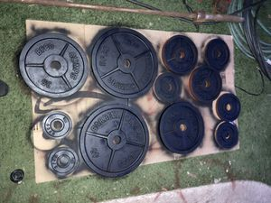 Bfco Olympic weight set, 45 lb bar for Sale in National City, CA