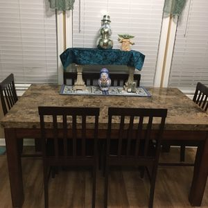 Dining Table & 6 Chairs w/marble top (in Powder Springs) for Sale in Austell, GA
