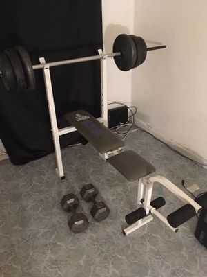 I have a WEIDER WEIGHT SET ALONG WITH 40 pound dumbbells 💪🏽 for $125 for Sale in Westland, MI