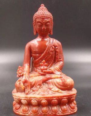 Jade statue Handcarved Agalmatolite Buddha Red for Sale in Chicago, IL