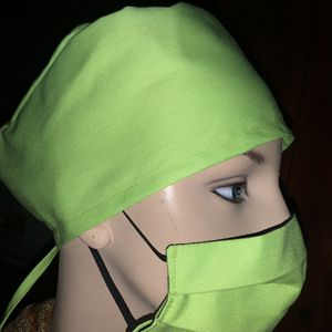 Neon Green Scrub Cap And Face Mask With Filter for Sale in Downey, CA