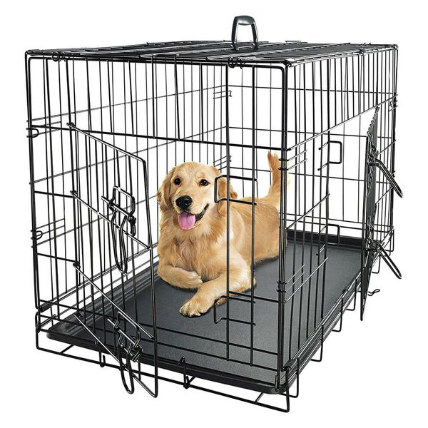 New in box 48x30x32 inches tall large 2 doors foldable dog cage crate kennel for pet up to 100 lbs