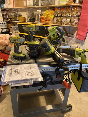 Ryobi Table Saw, Drills, Router, SawZall, Charger Batteries, Hand Saw, for Sale in Tacoma, WA