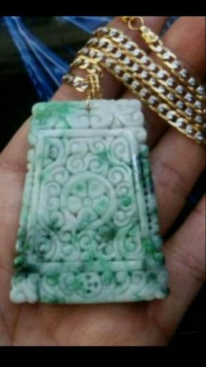 "Certified lucky fengshui Moire carved. Genuine green emerald jade jadeist pendant gold filled Trendmax chainn24"" 4mm for Sale in Richmond, CA"