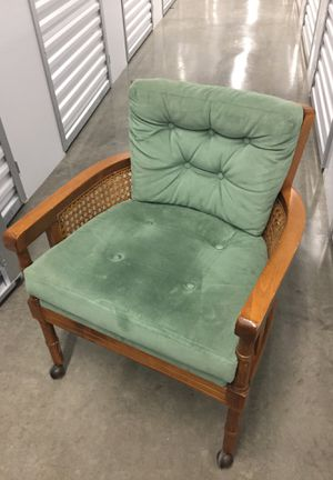 Cushioned green velvet antique rolling chairs in excellent condition (Set of 4) for Sale in Seattle, WA