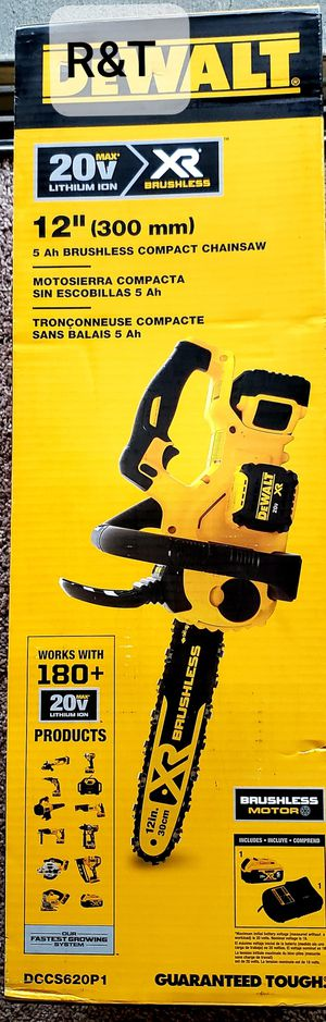 DEWALT 12 in. 20V MAX Lithium-Ion Cordless Brushless Chainsaw with (1) 5.0Ah Battery and Charger Included for Sale in Fullerton, CA