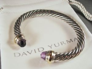 David Yurman Amethyst Cable Bracelet 7mm sterling silver/14k gold great condition for Sale in Boston, MA