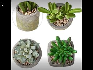 MOTINI Green Mini Artificial Plants Faux Potted Succulent Fake Realistic Plant in Cement Set of 3 for Sale in Riverside, CA