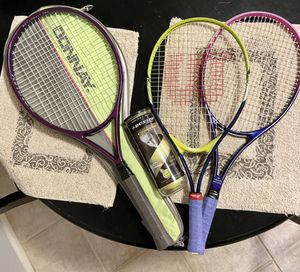 3 Tennis Rackets (1 adult, 2 smaller size rackets & 1 unopened can of Tennis balls) for Sale in Glendale, AZ