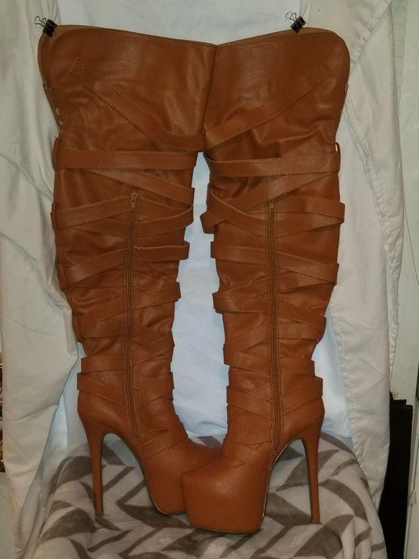 Tan Thigh High Stiletto Boots