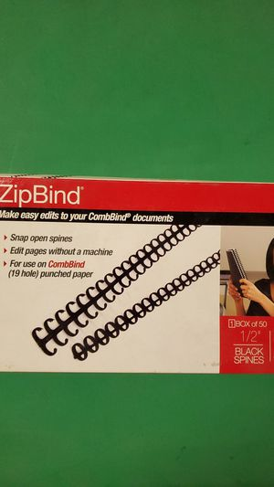 "GBC Binding Spines/Spirals/Coils, 1/2"" Diameter, 85 Sheet Capacity, ZipBind, Black, 50 Pack (15006) for Sale in Carlsbad, CA"