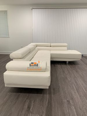 Brand New White Faux Leather Sectional Sofa Couch for Sale in Silver Spring, MD