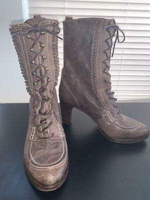 Frye Bella Hi Flower Fringe Lace Up Leather Boots for Sale in Cleveland, OH