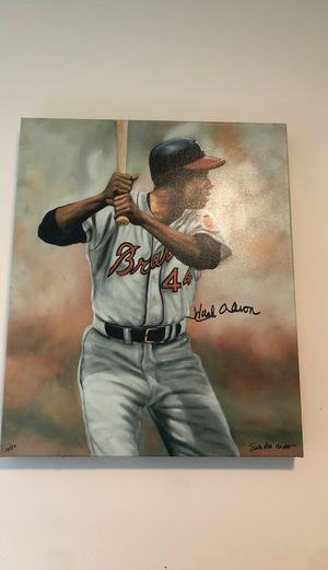 Hank Aaron autographed painting. 12/50. 100 percent authentic for Sale in Lindon, UT