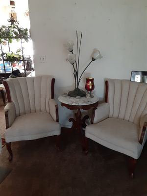 Two off white chairs, and round marble antique table for Sale in Sanger, CA