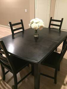 Ikea Kitchen table w/4 chairs black brown for Sale in Novato, CA